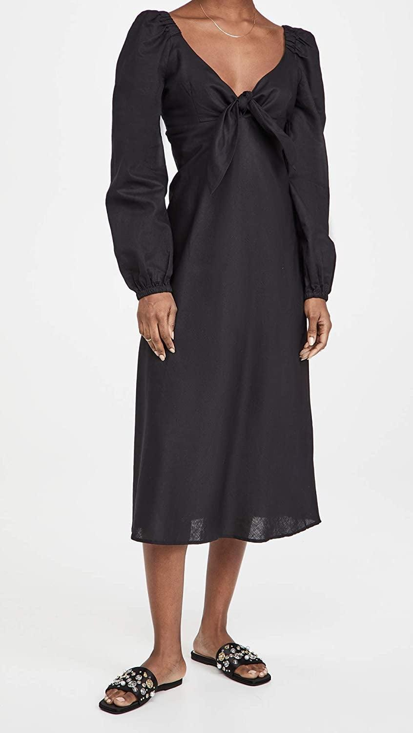<p>This <span>Charlie Holiday Almalfi Midi Dress</span> ($139) is a step above the rest, thanks to its neckline, dramatic sleeves, and bow details.</p>