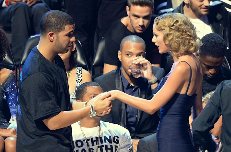 Drake and Taylor Swift attend the 2013 MTV Video Music Awards at the Barclays Center on August 25, 2013 in New York City. | Andrew H. Walker—WireImage