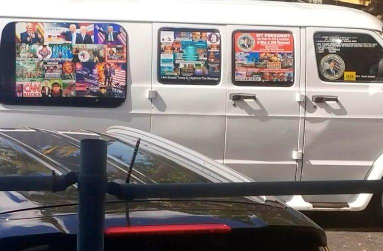 A photo taken by the husband of freelance journalistLesley Abravanel, who spotted the van in November 2017 and took notice of it's particularly pro-Trump, anti-Democrat decoration.