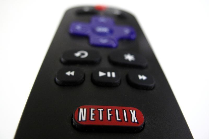 The Netflix logo is pictured on a television remote in this illustration photograph taken in Encinitas California