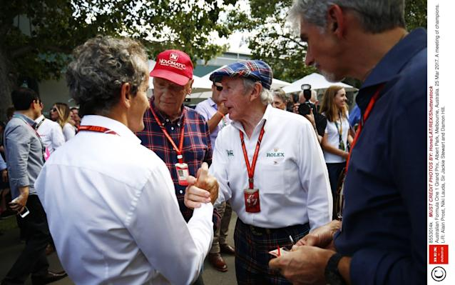 <span>Former champions Alain Prost (4), Niki Lauda (3), Sir Jackie Stewart (3) and Damon Hill (1) chat at the Australian Grand Prix</span> <span>Credit: Rex Features </span>