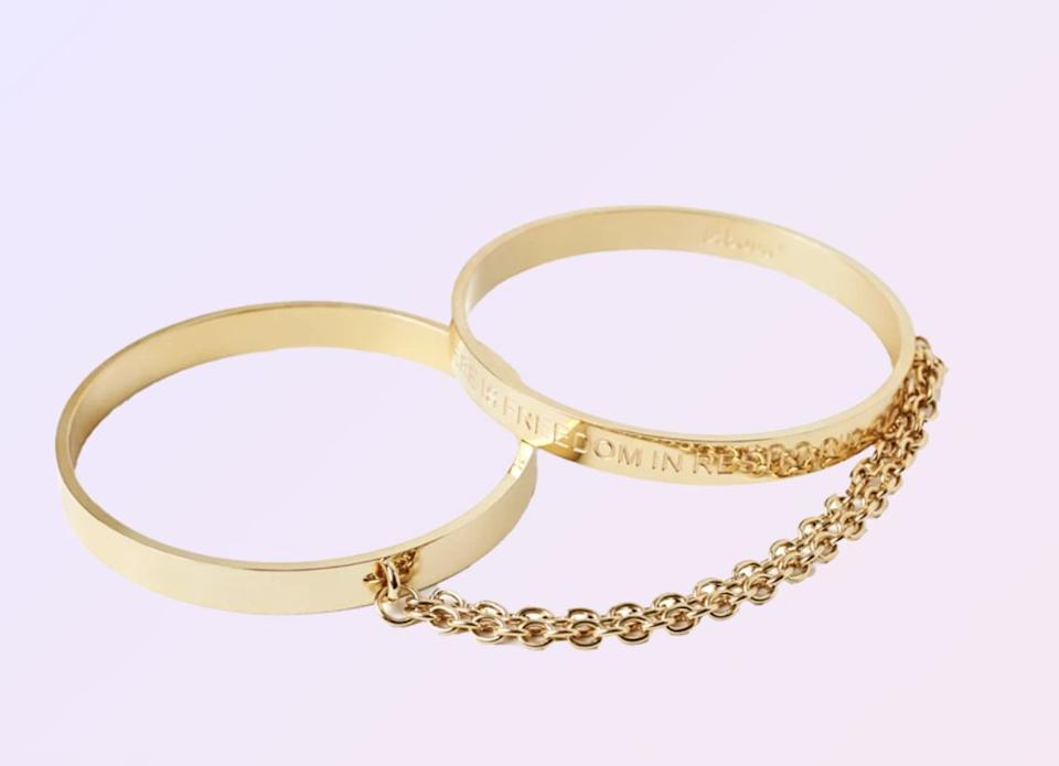 """These bangles might look delicate at first glance, but they double as handcuffs. <a href=""""https://fave.co/3aHanm3"""" target=""""_blank"""" rel=""""noopener noreferrer""""><strong>Find them at Unbound</strong></a>."""
