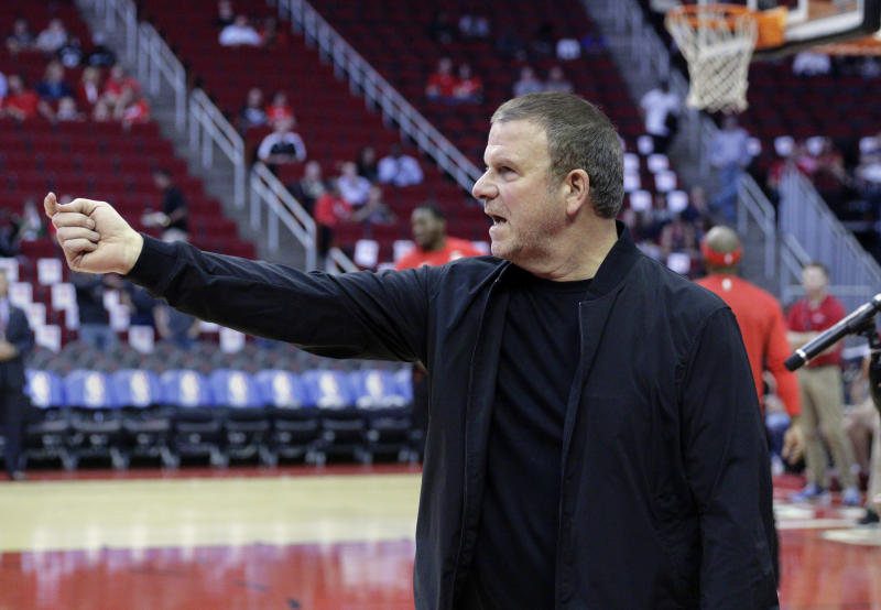 New Houston Rockets owner Tilman Fertitta before the start of an NBA preseason basketball game against the San Antonio Spurs Friday, Oct. 13, 2017, in Houston. (AP Photo/Michael Wyke)
