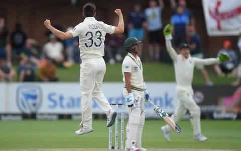 <span>Mark Wood bags his second wicket of South Africa's second innings, strangling Zubayr Hamza</span> <span>Credit: Stu Forster/Getty Images </span>