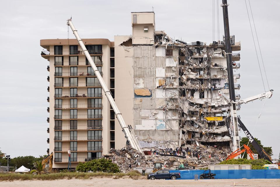 A general view as search and rescue teams look for possible survivors and remains in the partially collapsed 12-story Champlain Towers South condo building in Surfside, Florida.