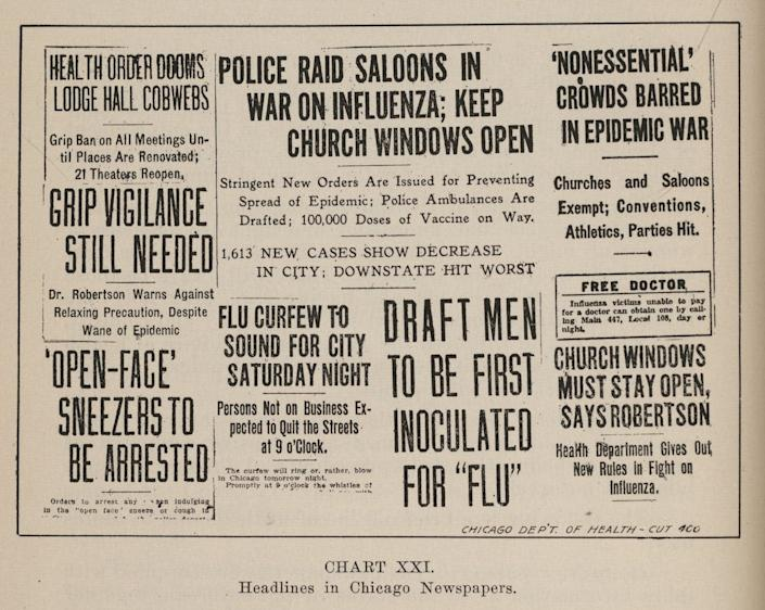 """<span class=""""caption"""">Collage of newspaper headlines related to the previous year's influenza pandemic, Chicago, Illinois, 1919. Headlines include 'Police Raid Saloons in War on Influenza,' 'Flu Curfew to Sound for City Saturday Night' and 'Open-Face Sneezers to Be Arrested.'</span> <span class=""""attribution""""><a class=""""link rapid-noclick-resp"""" href=""""https://www.gettyimages.com/detail/news-photo/collage-of-various-newspaper-headlines-related-to-the-news-photo/1219167361"""" rel=""""nofollow noopener"""" target=""""_blank"""" data-ylk=""""slk:Chicago History Museum/Getty Images"""">Chicago History Museum/Getty Images</a></span>"""