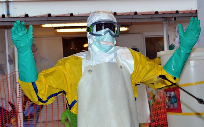 A health worker wearing protective gear is sprayed with disinfectant at the Nongo ebola treatment centre in Conakry, Guinea - AFP/AFP