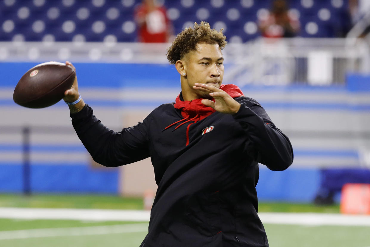 DETROIT, MICHIGAN - SEPTEMBER 12: Trey Lance #5 of the San Francisco 49ers warms up prior to the game against the Detroit Lions at Ford Field on September 12, 2021 in Detroit, Michigan. (Photo by Leon Halip/Getty Images)