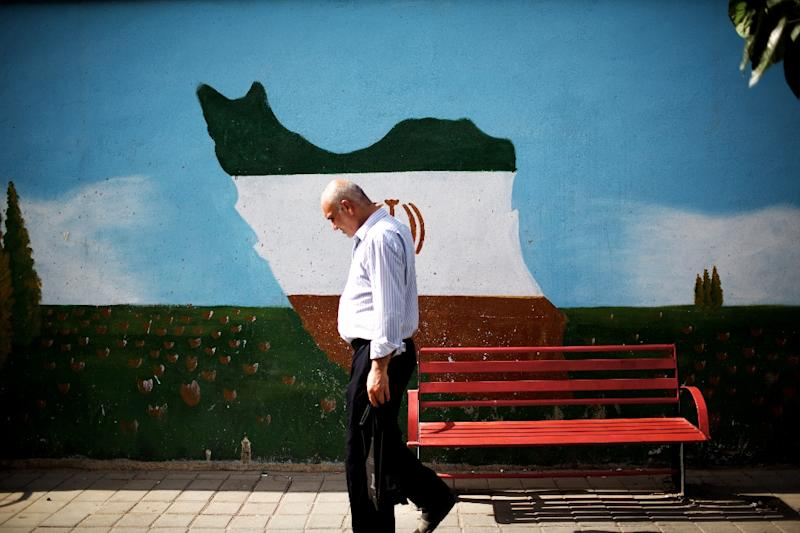 An Iranian man walks past a mural displaying the Iranian map adorned in the colours of the country's national flag, on June 29, 2015 in Tehran