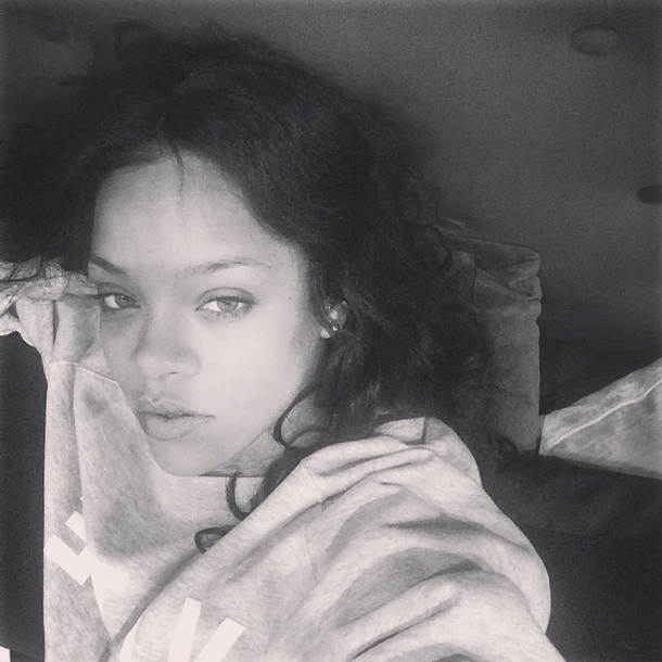 <p>RiRi posted this black and white photo to her Instagram account showing off a flawless, makeup free complexion. (<i>Photo: Instagram)</i></p>