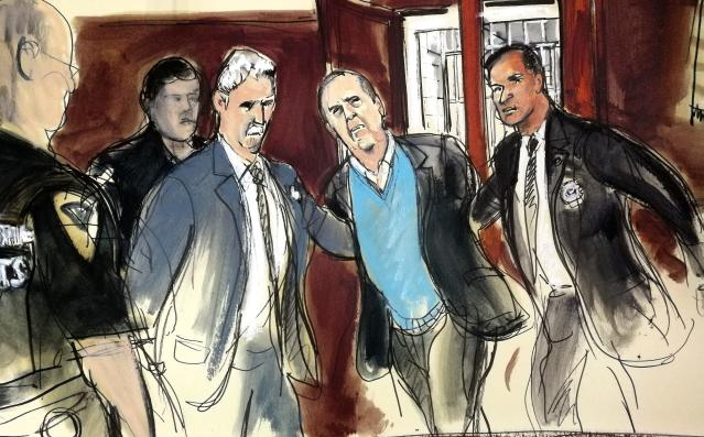In this courtroom sketch, Harvey Weinstein, center, is escorted into New York County Criminal Court in New York on Friday, May 25, 2018. (AP Photo/Elizabeth Williams)
