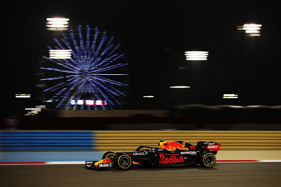 BAHRAIN, BAHRAIN - MARCH 26: Sergio Perez of Mexico driving the (11) Red Bull Racing RB16B Honda on track during practice ahead of the F1 Grand Prix of Bahrain at Bahrain International Circuit on March 26, 2021 in Bahrain, Bahrain. (Photo by Bryn Lennon/Getty Images)