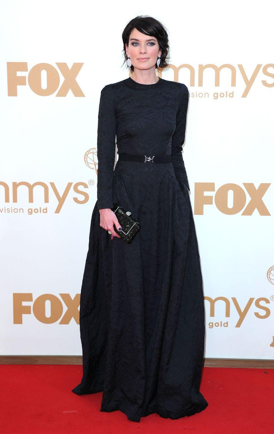 <p>Cersei Lannister would approve of this beautiful black gown Headey wore to the 2011 Emmy Awards. </p>