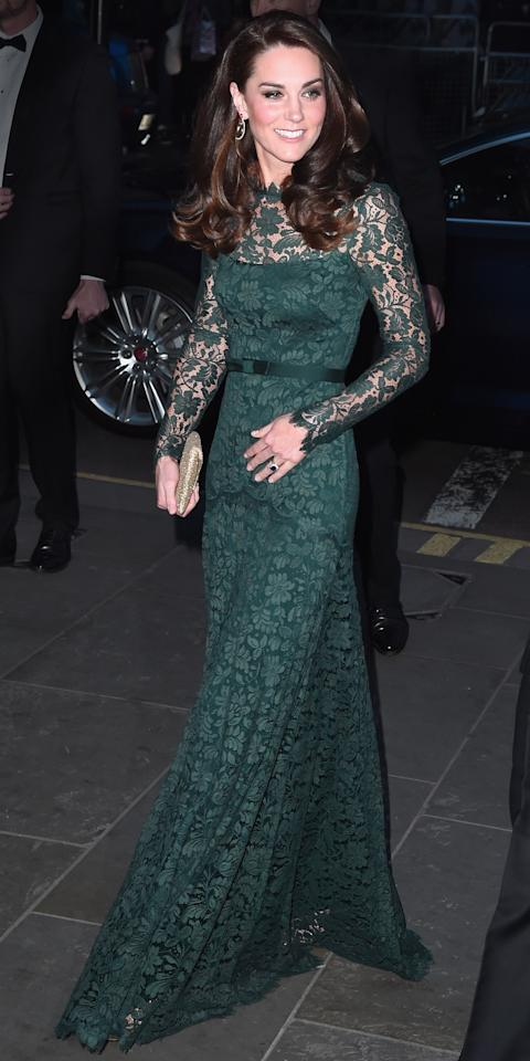 <p>The Duchess of Cambridge attended the 2017 Portrait Gala in London wearing an elegant green lace Temperley London gown. She paired the dress with Kiki McDonough drop earrings, a beaded Wilbur & Gussie envelope clutch, and metallic Jimmy Choo platform sandals.</p>