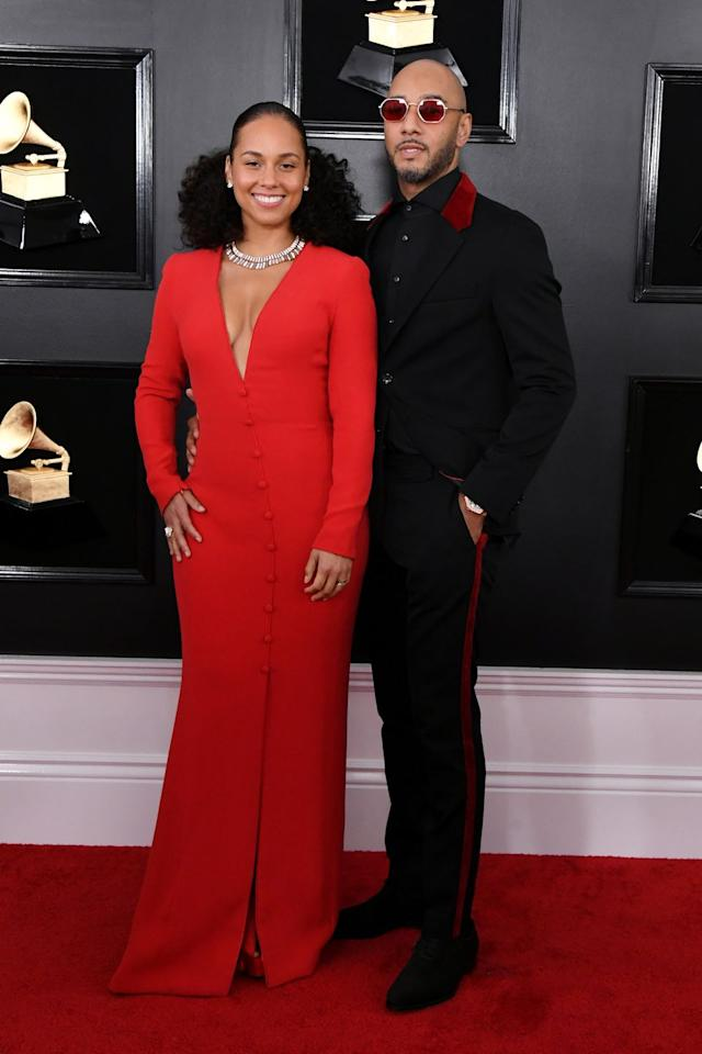 <p>Alicia Keys posed for a red carpet pic with husband Swizz Beatz before hosting the awards. </p>