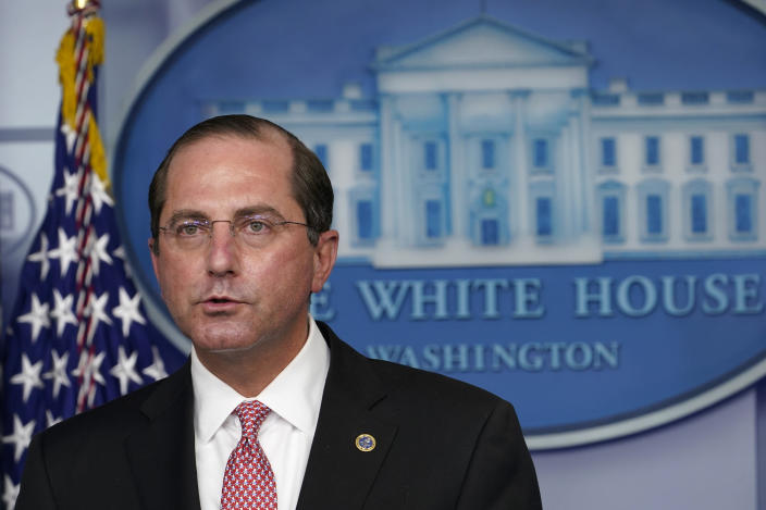 Health and Human Services Secretary Alex Azar speaks during a news conference with the coronavirus task force at the White House in Washington, Thursday, Nov. 19, 2020. (AP Photo/Susan Walsh)