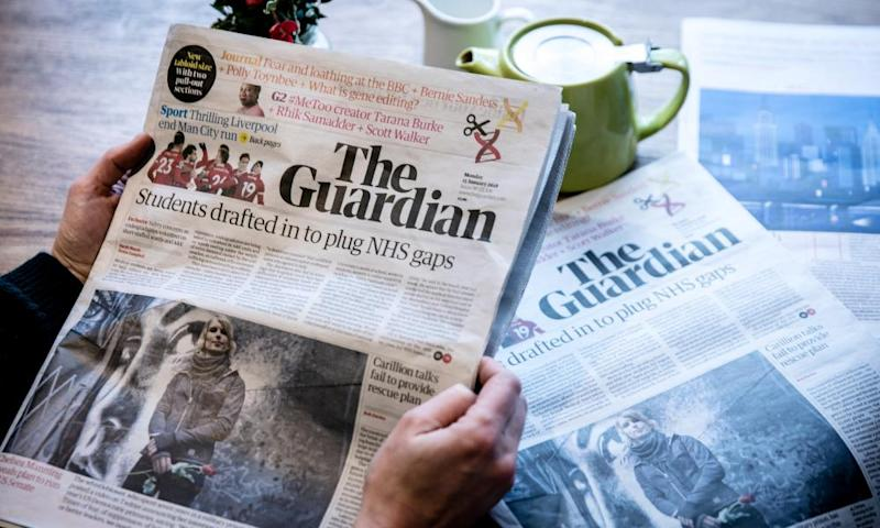 First edition of tabloid Guardian on 15 January 2018