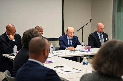 MBDA's MBE Policy Symposium (l to r: Aron Betru, Milken Institute; Henry Childs II, MBDA; U.S. Secretary of Commerce Wilbur Ross; and Dr. Ashley Winston, Macrodyn Group, LLC)