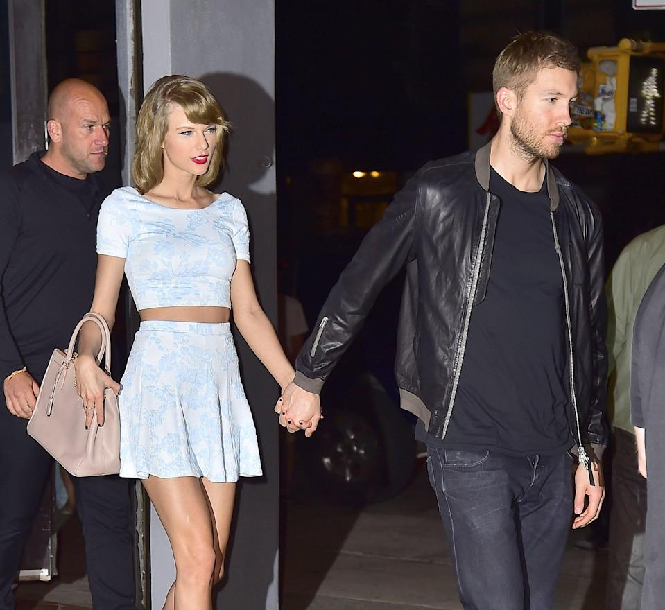 """<p><strong>When:</strong> March 2015 - June 2016</p> <p>Taylor first met Scottish DJ Calvin Harris when mutual friend <a href=""""https://www.popsugar.com/celebrity/How-Did-Taylor-Swift-Calvin-Harris-Meet-40345872"""" class=""""link rapid-noclick-resp"""" rel=""""nofollow noopener"""" target=""""_blank"""" data-ylk=""""slk:Ellie Goulding introduced them at the Elle Style Awards"""">Ellie Goulding introduced them at the Elle Style Awards</a> in February 2015. By March, <a href=""""https://www.popsugar.com/celebrity/Cute-Taylor-Swift-Calvin-Harris-Pictures-37511979"""" class=""""link rapid-noclick-resp"""" rel=""""nofollow noopener"""" target=""""_blank"""" data-ylk=""""slk:they were inseparable"""">they were inseparable</a>. With their romance clocking in at just over a year, the two went on a number of <a href=""""https://www.popsugar.com/celebrity/Fan-Crashes-Taylor-Swift-Calvin-Harris-Dinner-Date-39796538"""" class=""""link rapid-noclick-resp"""" rel=""""nofollow noopener"""" target=""""_blank"""" data-ylk=""""slk:cute dinner dates"""">cute dinner dates</a> and packed in <a href=""""https://www.popsugar.com/celebrity/Taylor-Swift-Calvin-Harris-2015-Billboard-Music-Awards-37504377"""" class=""""link rapid-noclick-resp"""" rel=""""nofollow noopener"""" target=""""_blank"""" data-ylk=""""slk:plenty of award show PDA"""">plenty of award show PDA</a>. Although Calvin and Taylor had <a href=""""http://stylecaster.com/calvin-harris-quotes-about-taylor-swift/"""" class=""""link rapid-noclick-resp"""" rel=""""nofollow noopener"""" target=""""_blank"""" data-ylk=""""slk:heaps of nice things"""">heaps of nice things</a> to say about each other, <a href=""""https://www.popsugar.com/celebrity/Taylor-Swift-Calvin-Harris-Break-Up-41517631"""" class=""""link rapid-noclick-resp"""" rel=""""nofollow noopener"""" target=""""_blank"""" data-ylk=""""slk:they broke up"""">they broke up</a> not long after celebrating their one-year anniversary and just shortly after <a href=""""https://www.popsugar.com/celebrity/Calvin-Harris-Hospitalized-After-Car-Crash-May-2016-41398025"""" class=""""link rapid-noclick-resp"""" rel=""""nofollow noopener"""" target=""""_blank"""" data-ylk=""""slk:Calvin g"""