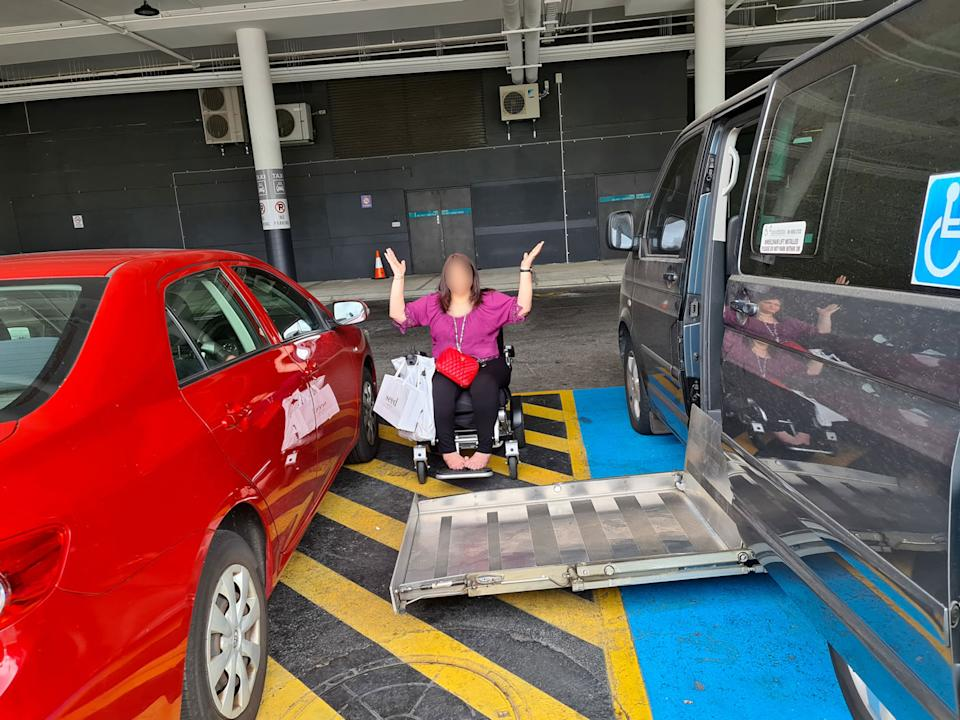 The red car parking in the shared zone angered people on social media. Source: Facebook/Australian Disability Parking Wall of Shame