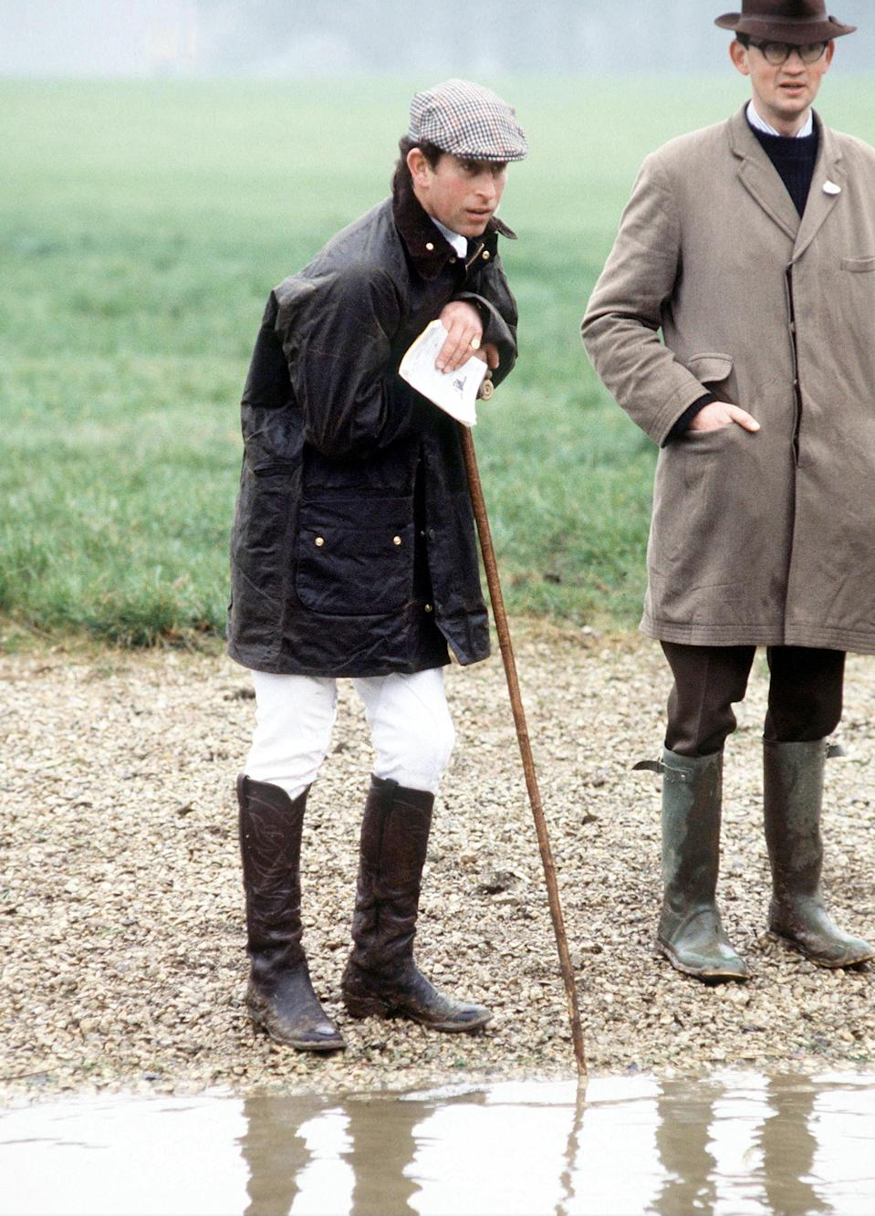 Prince Charles at a cross country hunting event in Cirencester, April 16, 1978.