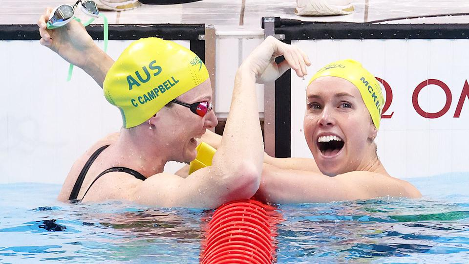 Pictured here, Cate Campbell congratulates Emma McKeon on her gold medal at the Tokyo Games.