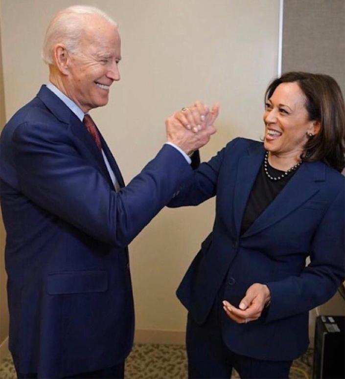 """<p>On Aug. 11, 2020, presumptive Democratic presidential nominee Joe Biden announced that he had selected Harris as his running mate, making her the first woman of color to be on a major-party presidential ticket. </p> <p>Harris told <a href=""""https://people.com/politics/joe-biden-and-kamala-harris-first-joint-interview/"""" rel=""""nofollow noopener"""" target=""""_blank"""" data-ylk=""""slk:PEOPLE"""" class=""""link rapid-noclick-resp"""">PEOPLE</a> of being asked to step into the role, """"I was absolutely, and remain, so excited about our partnership, and all the potential of our country that has yet to be achieved.""""</p>"""