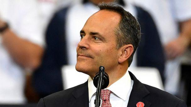 PHOTO: Kentucky Gov. Matt Bevin looks out at the crowd during a campaign rally with President Donald Trump in Lexington, Ky., Nov. 4, 2019. (Timothy D. Easley/AP, FILE)