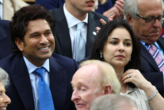 LONDON, ENGLAND - JULY 06: Sachin Tendulkar and Anjali Tendulkar watch on from the Royal Box on Centre Court on day eleven of the Wimbledon Lawn Tennis Championships at the All England Lawn Tennis and Croquet Club on July 6, 2012 in London, England. (Photo by Clive Brunskill/Getty Images)