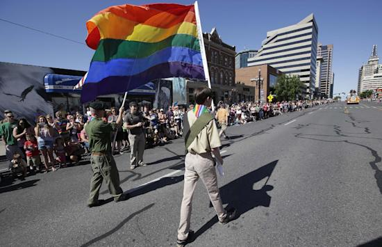 A group of Boy Scouts march during Salt Lake City's annual Gay Pride parade in 2014. (Rick Bowmer/AP File)
