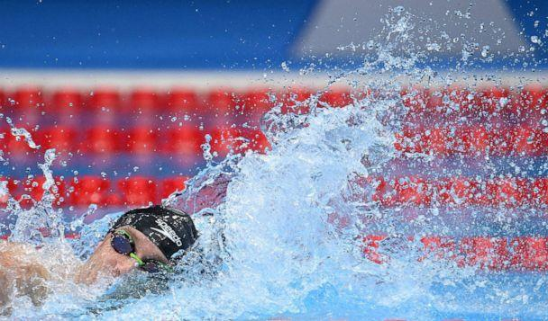 PHOTO: Robert Finke competes in the final of the men's 800m freestyle swimming event during the Tokyo 2020 Olympic Games at the Tokyo Aquatics Centre in Tokyo on July 29, 2021. (Jonathan Nackstrand/AFP via Getty Images)