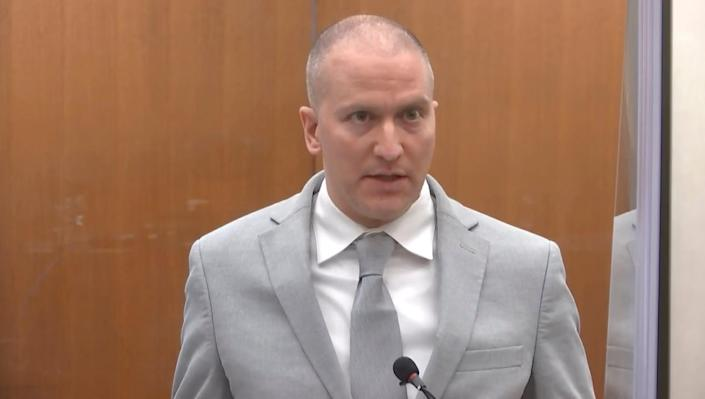 In this image taken from video, former Minneapolis police Officer Derek Chauvin addresses the court as Hennepin County Judge PeterCahill presides over Chauvin's sentencing, Friday, June 25, 2021, at the Hennepin County Courthouse in Minneapolis.