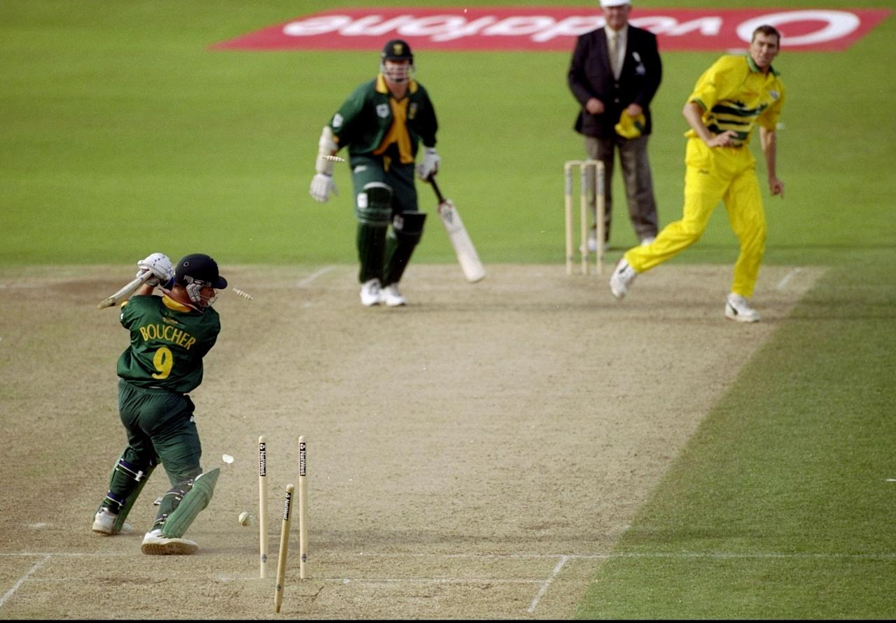 17 Jun 1999:  Mark Boucher of South Africa is bowled by Glenn McGrath of Australia in the World Cup semi-final at Edgbaston in Birmingham, England. The match finished a tie as Australia went through after finishing higher in the Super Six table. \ Mandatory Credit: Ross Kinnaird /Allsport
