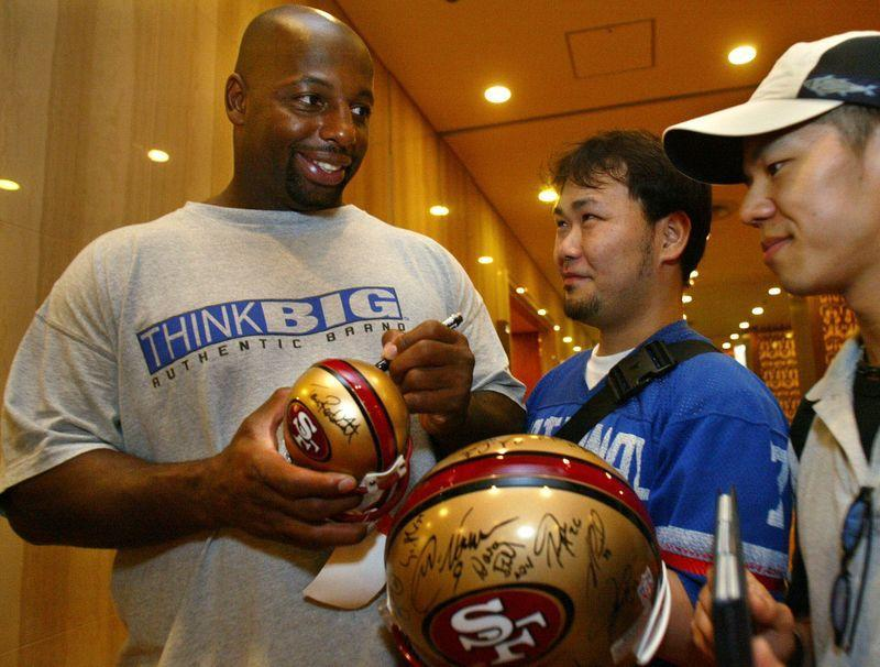 NFL 49ERS' STUBBLEFIELD SIGNS AUTOGRAPHS AHEAD OF AMERICAN BOWL IN OSAKA.