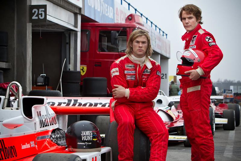 Chris Hemsworth and Daniel Brühl as F1 drivers James Hunt and Niki Lauda in Rush. (Universal)