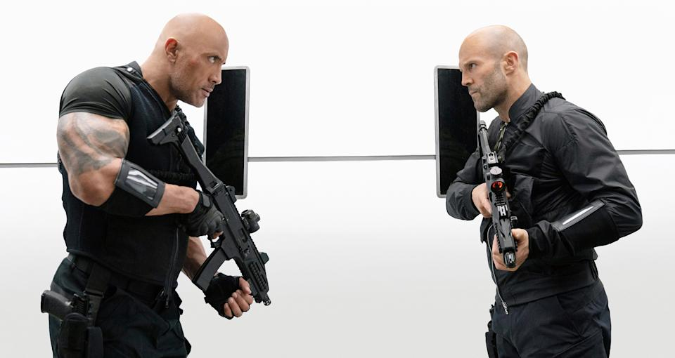 Johnson and Statham in 'Hobbs & Shaw' (Photo: Daniel Smith / © Universal / Courtesy Everett Collection)