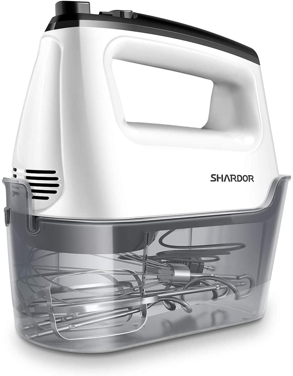 <p>The <span>SHARDOR Hand Mixer</span> ($19, originally $30) is a kitchen must-have, epsecially if you love to bake. It comes with two beaters, two dough hooks, and a whisk.</p>