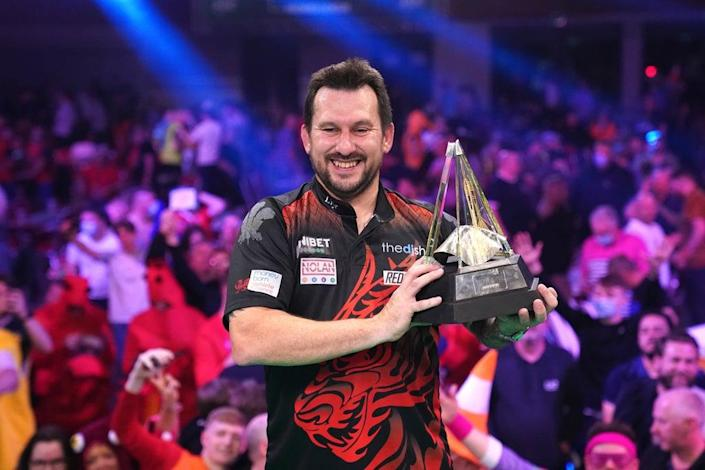 Jonny Clayton finished fourth in the table, but went on to lift the 2021 Premier League trophy (Zac Goodwin/PA) (PA Wire)
