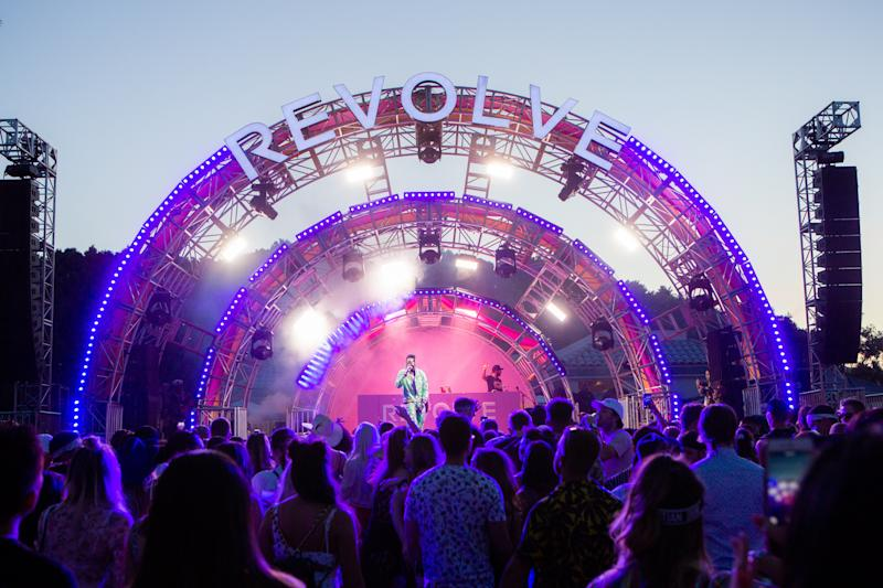 Guests attend the Revolve Festival in La Quinta, California, during weekend one of Coachella on Saturday, April 13, 2019. Photograph by Alex Welsh for W magazine.