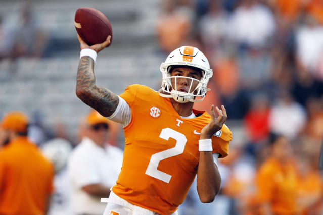 Tennessee quarterback Jarrett Guarantano (2) throws to a receiver during warmups before an NCAA college football game against Brigham Young, Saturday, Sept. 7, 2019, in Knoxville, Tenn. (AP Photo/Wade Payne)