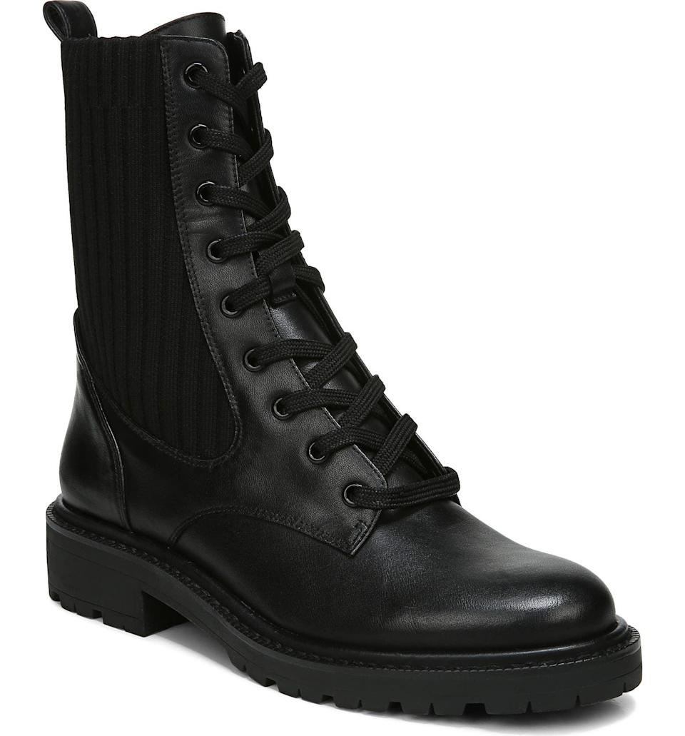 <p>A biker boot is always our seasonal go-to, and these <span>Sam Edelman Lydell Mixed Media Combat Boot</span> ($150) are awesome.</p>