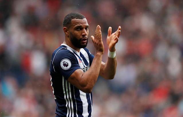 """Soccer Football - Premier League - West Bromwich Albion v Liverpool - The Hawthorns, West Bromwich, Britain - April 21, 2018 West Bromwich Albion's Matt Phillips applauds fans after the match Action Images via Reuters/Andrew Boyers EDITORIAL USE ONLY. No use with unauthorized audio, video, data, fixture lists, club/league logos or """"live"""" services. Online in-match use limited to 75 images, no video emulation. No use in betting, games or single club/league/player publications. Please contact your account representative for further details."""