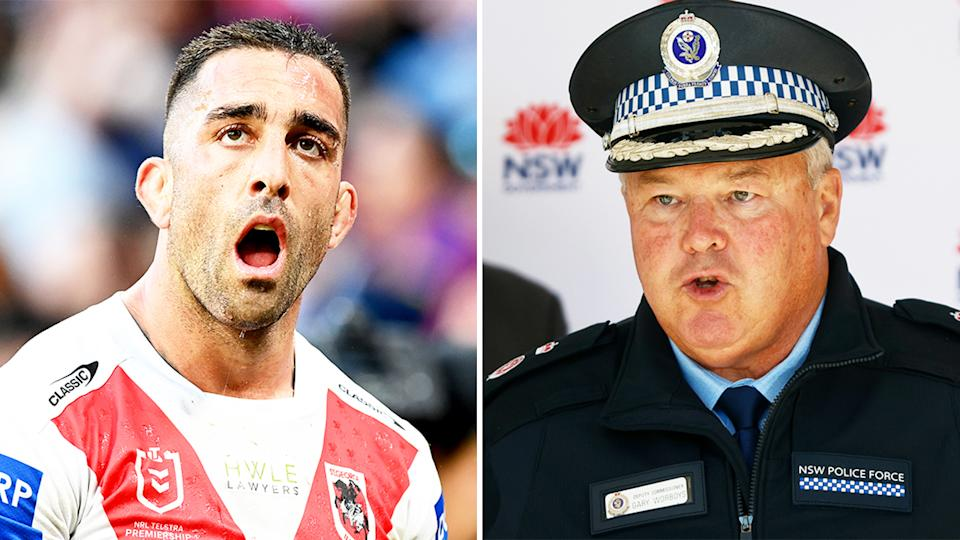 NSW Police Deputy Commissioner Gary Worboys (pictured right) during a press conference and Dragons player Paul Vaughan (pictured left).