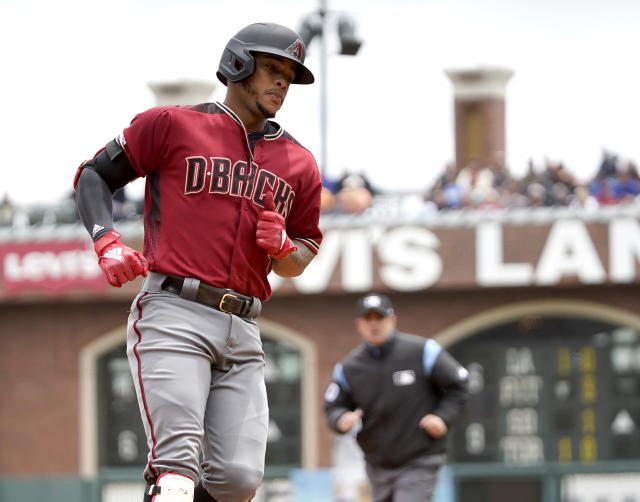 Arizona Diamondbacks' Ketel Marte rounds the bases after hitting a solo home run against the San Francisco Giants during the first inning of a baseball game in San Francisco, Sunday, May 26, 2019. (AP Photo/Tony Avelar)