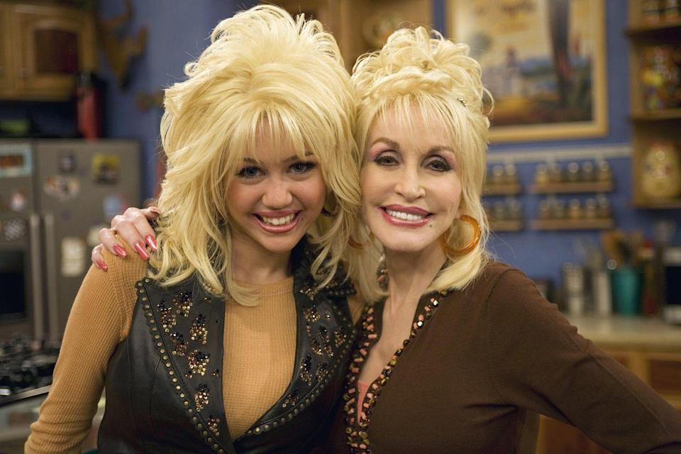"""<p>Hold up... there's a straight-up legend in the building. As Miley Cyrus' real-life godmother, it only made sense for Dolly Parton to <a href=""""https://twitter.com/DollyParton/status/1375495985120546821"""" rel=""""nofollow noopener"""" target=""""_blank"""" data-ylk=""""slk:bring the role to life"""" class=""""link rapid-noclick-resp"""">bring the role to life</a>, big hair, big voice and all. </p>"""