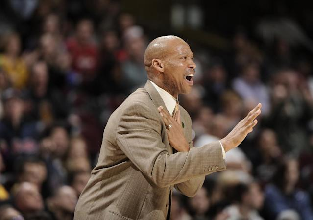 CLEVELAND, OH - APRIL 10: Head coach Byron Scott of the Cleveland Cavaliers calls out the play late in the game against the Detroit Pistons at The Quicken Loans Arena on April 10, 2013 in Cleveland, Ohio. (Photo by David Liam Kyle/NBAE via Getty Images)