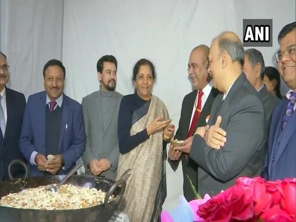 Finance Minister Nirmala Sitharaman during the 'Halwa ceremony' at the North Block in New Delhi in January 2020. (File Photo/ANI)