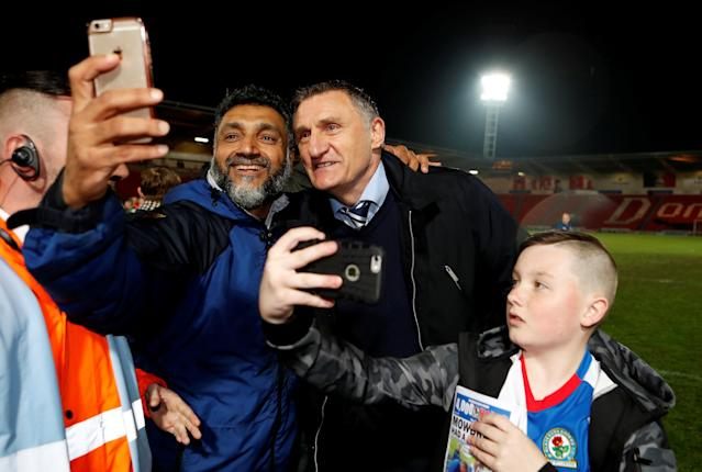 "Soccer Football - League One - Doncaster Rovers v Blackburn Rovers - Keepmoat Stadium, Doncaster, Britain - April 24, 2018 Blackburn Rovers manager Tony Mowbray celebrates after the match Action Images/Lee Smith EDITORIAL USE ONLY. No use with unauthorized audio, video, data, fixture lists, club/league logos or ""live"" services. Online in-match use limited to 75 images, no video emulation. No use in betting, games or single club/league/player publications. Please contact your account representative for further details."