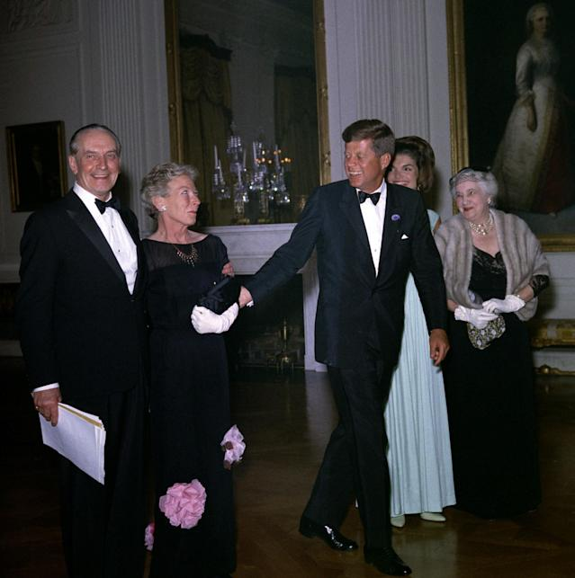<p>President John F. Kennedy and first lady Jacqueline Kennedy greet guests at a dinner in honor of Nobel Prize winners, April 29, 1962, at the White House in Washington. (Photo: Robert Knudsen/The White House/John F. Kennedy Presidential Library and Museum) </p>
