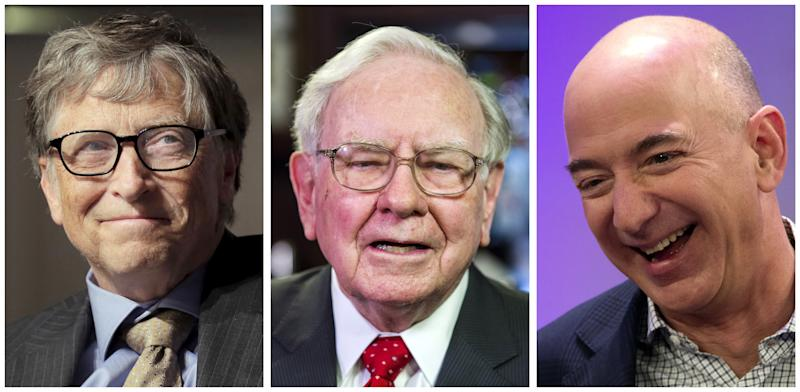 A combination photo shows L-R: Bill Gates in Washington on April 18, 2016, Warren Buffett, in New York on September 8, 2015 and Jeff Bezos in New York on December 2, 2014 respectively. Bezos, the founder and chief executive of Amazon.com Inc, has become the world's third-richest person as of the market close for the first time, Forbes magazine said, passing Warren Buffett, the chairman and chief executive of Berkshire Hathaway Inc while Bill Gates remained the world's richest person. REUTERS/File Photos